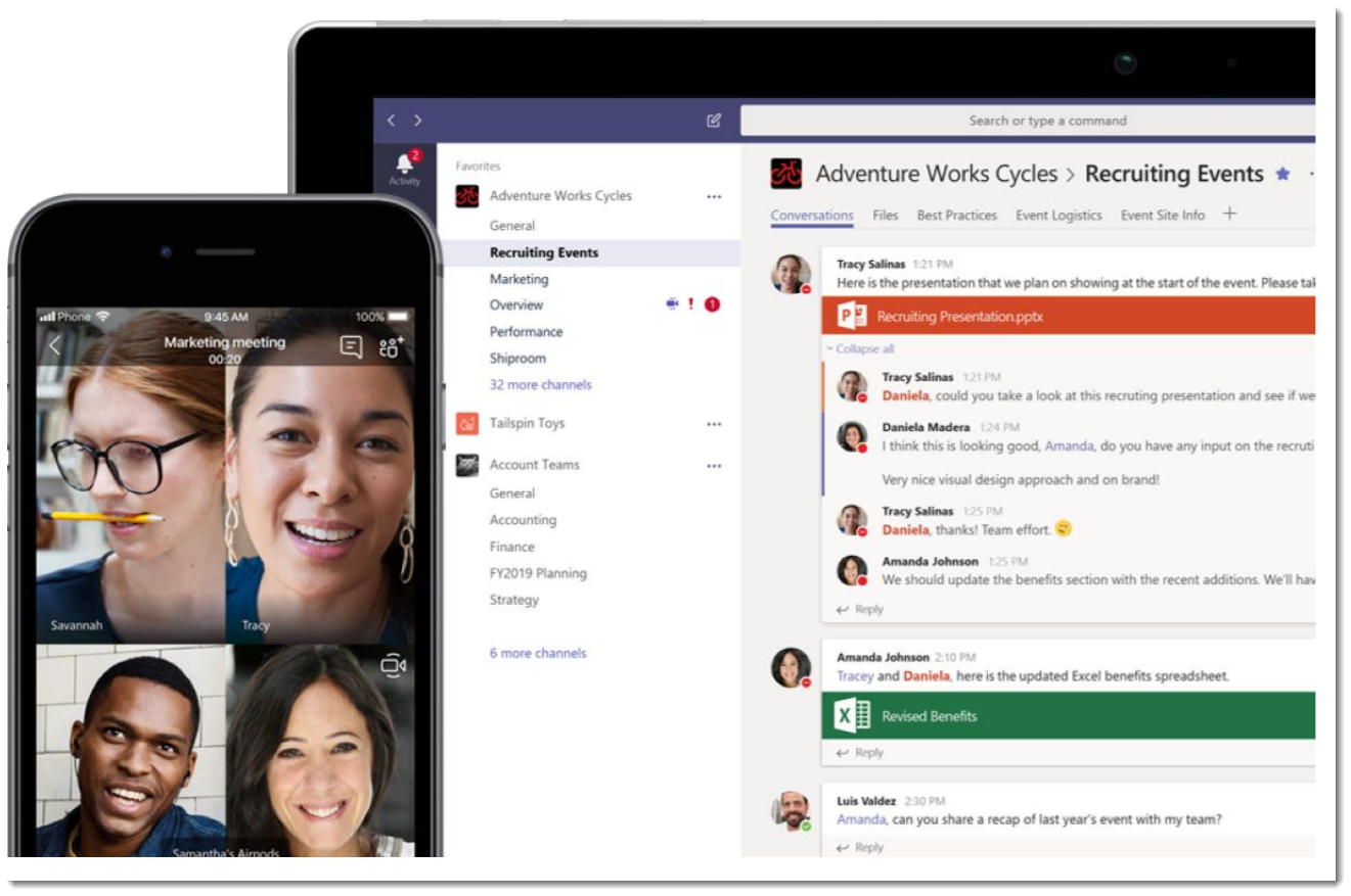 Microsoft Teams open on a laptop and smart phone